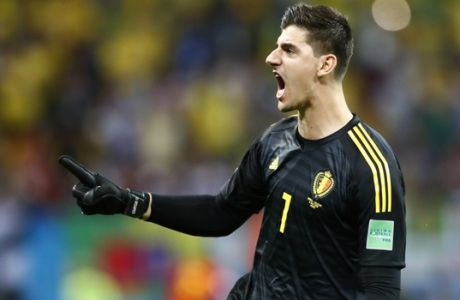 Belgium goalkeeper Thibaut Courtois celebrates after Belgium's Kevin De Bruyne score belgium's 2nd goal of the game during the quarterfinal match between Brazil and Belgium at the 2018 soccer World Cup in the Kazan Arena, in Kazan, Russia, Friday, July 6, 2018. (AP Photo/Matthias Schrader)