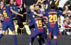 Barcelona's Lionel Messi, 2nd right, celebrates after scoring his side's second goal during the Spanish La Liga soccer match between Real Madrid and Barcelona at the Santiago Bernabeu stadium in Madrid, Spain, Saturday, Dec. 23, 2017. (AP Photo/Francisco Seco)