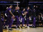 The Los Angeles Lakers bench reacts during the first half of an NBA preseason basketball game against the Sacramento Kings in Los Angeles, Thursday, Oct. 4, 2018. (AP Photo/Kelvin Kuo)