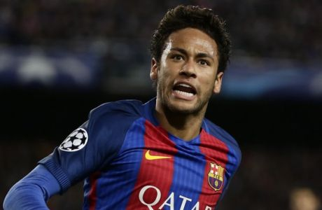 Barcelona's Neymar shouts during the Champions League quarterfinal second leg soccer match between Barcelona and Juventus at Camp Nou stadium in Barcelona, Spain, Wednesday, April 19, 2017. (AP Photo/Emilio Morenatti)