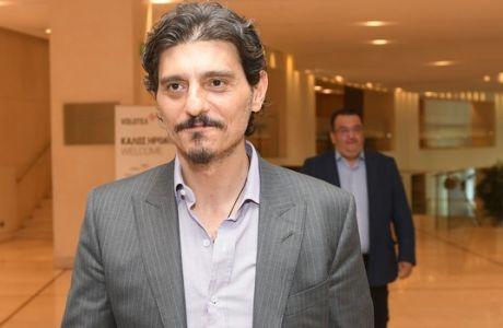 Ο μεγαλομέτοχος της ΚΑΕ ΠΑΝΑΘΗΝΑΪΚΟΣ SUPER FOODS Δημήτρης Γιαννακόπουλος κάνει δηλώσεις στα ΜΜΕ μετά την συνάντηση με τον Γενικό γραμματέα της FIBA Πάτρικ Μπάουμαν, σε ξενοδοχείο της Αθήνας την Πέμπτη 3 Μαΐου 2018. (EUROKINISSI SPORTS/ΒΑΓΓΕΛΗΣ ΣΤΟΛΗΣ)