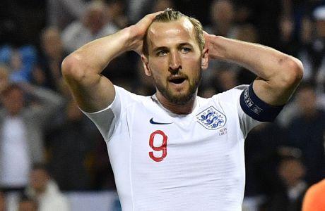 Ο Χάρι Κέιν μετά από χαμένη ευκαιρία σε αναμέτρηση της Αγγλίας με την Ολλανδία για το  UEFA Nations League στο 'D. Afonso Henriques Stadium' στο Γκιμαράες της Πορτογαλίας | 6 Ιουνίου 2019 (AP Photo/Martin Meissner)