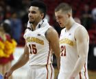 Iowa State guard Naz Mitrou-Long, left, celebrates with teammate Matt Thomas, right, at the end of an NCAA college basketball game against Oklahoma, Saturday, Feb. 11, 2017, in Ames, Iowa. Iowa State won 80-64. (AP Photo/Charlie Neibergall)