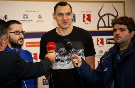 Ο Γιόνας Ματσιούλις παραχωρεί δηλώσεις στην Media Day του EKO ALL STAR GAME 2020. ΦΩΤΟΓΡΑΦΙΑ: ΣΤΕΦΑΝΟΣ ΡΑΠΑΝΗΣ / EUROKINISSI