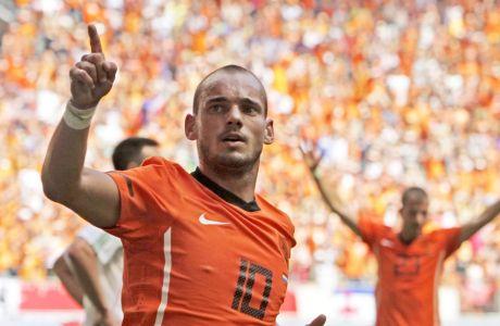 Ο Γουέσλει Σνάιντερ στην τελευταία του συμμετοχή με τα χρώματα της Εθνικής Ολλανδίας