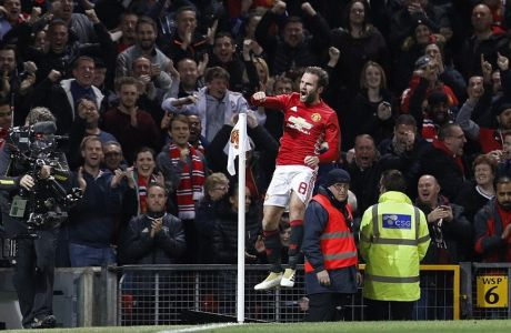 "Football Soccer Britain - Manchester United v Manchester City - EFL Cup Fourth Round - Old Trafford - 26/10/16  Manchester United's Juan Mata celebrates scoring their first goal   Reuters / Darren Staples  Livepic  EDITORIAL USE ONLY. No use with unauthorized audio, video, data, fixture lists, club/league logos or ""live"" services. Online in-match use limited to 45 images, no video emulation. No use in betting, games or single club/league/player publications. Please contact your account representative for further details."