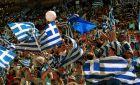 Οι Έλληνες φίλαθλοι στις εξέδρες του 'Μειπλ Λιφ Γκάρντεν' κατά τη διάρκεια του Μουντομπάσκετ '94