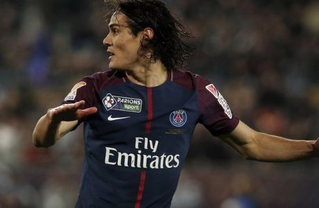 PSG's Edison Cavani looks on after scoring his side third goal during the League Cup final soccer match between Paris Saint Germain and Monaco in Bordeaux, southwestern France, Saturday, March 31, 2018. (AP Photo/Thibault Camus)