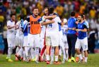 FORTALEZA, BRAZIL - JUNE 24:  Greece celebrate after defeating the Ivory Coast 2-1 during the 2014 FIFA World Cup Brazil Group C match between Greece and the Ivory Coast at Castelao on June 24, 2014 in Fortaleza, Brazil.  (Photo by Jamie McDonald/Getty Images)