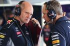BUDAPEST, HUNGARY - JULY 26:  (L-R) Infiniti Red Bull Racing Chief Technical Officer Adrian Newey talks with  Infiniti Red Bull Racing Head of Car Engineering Paul Monaghan in their team garage during practice for the Hungarian Formula One Grand Prix at Hungaroring on July 26, 2013 in Budapest, Hungary.  (Photo by Mark Thompson/Getty Images) *** Local Caption *** Adrian Newey; Paul Monaghan