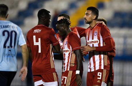 Ο Αχμέντ Χασάν του Ολυμπιακού πανηγυρίζει γκολ που σημείωσε κόντρα στον Απόλλωνα για τη Super League Interwetten 2020-2021 στο 'Γεώργιος Καμάρας'   Κυριακή 31 Ιανουαρίου 2021
