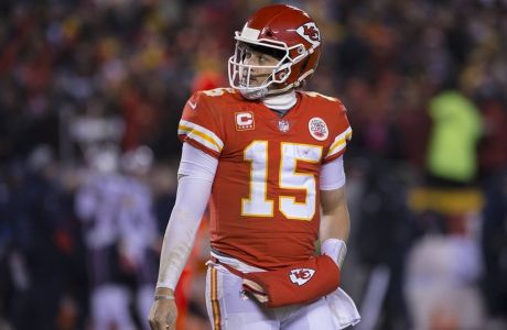 Kansas City Chiefs quarterback Patrick Mahomes (15) looks dejectedly back at the scoreboard in the fourth quarter of the AFC Championship at Arrowhead Stadium in Kansas City, Missouri, January 20, 2019. The Patriots defeated the Chiefs 37-31 in overtime to face the Los Angeles Rams in Super Bowl LIII. PUBLICATIONxINxGERxSUIxAUTxHUNxONLY KCP2019012085 KYLExRIVAS