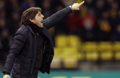 Chelsea's team manager Antonio Conte gestures during the English Premier League soccer match between Watford and Chelsea at Vicarage Road stadium in London, Monday, Feb. 5, 2018.(AP Photo/Frank Augstein)