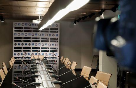 Στιγμιότυπο πριν από την κλήρωση των προημιτελικών του Κυπέλλου Ελλάδας 2019-2020 στα γραφεία της ΕΠΟ στο Πάρκο Γουδή   Πέμπτη 23 Ιανουαρίου 2020