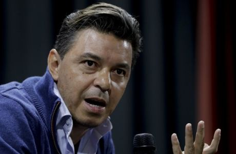 Argentina's River Plate coach Marcelo Gallardo speaks during a press conference in Buenos Aires, Argentina Friday, Nov. 2, 2018. River will face arch-rival Boca Juniors in Copa Libertadores final on Nov. 10 and 24.  (AP Photo/Natacha Pisarenko)