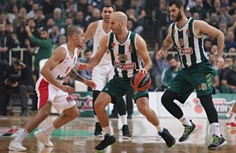 Ο Νικ Καλάθης και ο Αντώνης Κόνιαρης σε φάση από το πρώτο παιχνίδι των δύο ομάδων στο ΟΑΚΑ