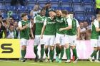 Hibernian FC players, reacts after David Gray's goal against Brondby during their Europe League second qualifying round, second leg soccer match in Brondby, Denmark, Thursday, July 21, 2016. (Tariq Mikkel Khan/Polfoto via AP)