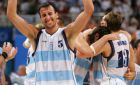 Emanuel David Ginobili celebrates after their men's basketball semi-final victory against the U.S. at the Athens 2004 Olympic Games, August 27, 2004. Argentina won the game 89-81. REUTERS/Lucy Nicholson