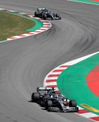Mercedes driver Lewis Hamilton of Britain leads his teammate Mercedes driver Valtteri Bottas of Finland during the Spanish Formula One race at the Barcelona Catalunya racetrack in Montmelo, just outside Barcelona, Spain, Sunday, May 12, 2019. (AP Photo/Emilio Morenatti)