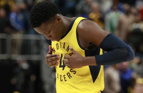 Indiana Pacers guard Victor Oladipo reacts after hitting a late shot to put his team ahead during an NBA basketball game against the Boston Celtics, Saturday, Nov. 3, 2018, in Indianapolis. Indiana won 102-101. (AP Photo/R Brent Smith)