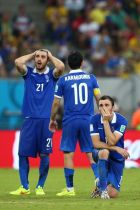 RECIFE, BRAZIL - JUNE 29: (L-R) Konstantinos Katsouranis, Giorgos Karagounis and Vasilis Torosidis of Greece react during a penalty shootout during the 2014 FIFA World Cup Brazil Round of 16 match between Costa Rica and Greece at Arena Pernambuco on June 29, 2014 in Recife, Brazil.  (Photo by Paul Gilham/Getty Images)