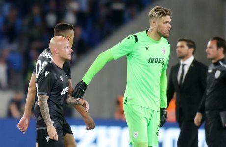 Ο Αλέξανδρος Πασχαλάκης και ο Μίροσλαβ Στοχ του ΠΑΟΚ απογοητευμένοι μετά από την ήττα από τη Σλόβαν για τον πρώτο αγώνα των playoffs του Europa League 2019-2020, Μπρατισλάβα, Πέμπτη 22 Αυγούστου 2019