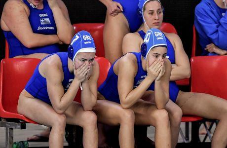 Απογοήτευση τον πάγκο της εθνικής για τον αποκλεισμό από τους Ολυμπιακούς Αγώνες, μετά την ήττα από την Ολλανδία με σκορ 7-4. (ΦΩΤΟΓΡΑΦΙΑ: EUROKINISSI)