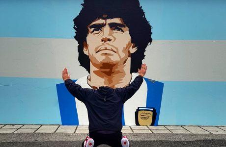 Ο δημιουργός του γκράφιτι του Ντιέγκο Μαραντόνα στο 3ο Δημοτικό Σχόλειο Καλαμαριάς, Ηλίας Στύλος