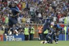 French players celebrate winning the final match against Croatia at the 2018 soccer World Cup in the Luzhniki Stadium in Moscow, Russia, Sunday, July 15, 2018. (AP Photo/Natacha Pisarenko)