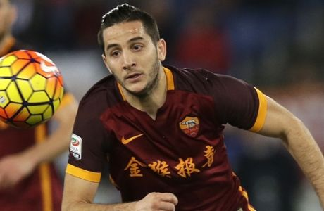 "Romas Kostas Manolas wears the team jersey bearing a Chinese writing which reads: ""The golden Monkey brings happiness and fortune "" to greet the upcoming Chinese New Year , during a Serie A soccer match between Roma and Sampdoria at Rome's Olympic stadium, Sunday, Feb. 7, 2016.  The Lunar New Year which falls on Feb. 8 this year marks the Year of the Monkey in the Chinese calendar. (AP Photo/Alessandra Tarantino)"