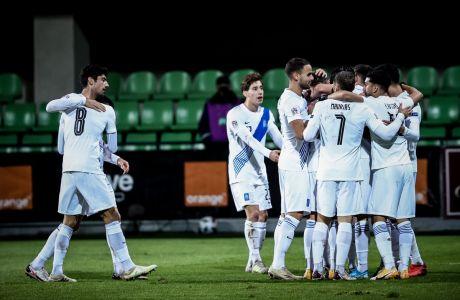 Παίκτες της Εθνικής Ελλάδας πανηγυρίζουν γκολ κόντρα στη Μολδαβία για τη φάση των ομίλων του Nations League 2020-2021 στο 'Ζίμπρου Στέιντιουμ', Κισινάου | Κυριακή 15 Νοεμβρίου 2020