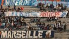 "Soccer fans and students hold a banner reading :""Proud of to be against CPE"", in Velodrome Stadium during the French Soccer Cup match between Marseille and Sochaux, in Marseille southern France, Wednesday, March 22, 2006. (AP Photo/Claude Paris)"
