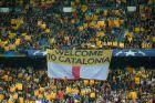 """""""Καλωσήρθατε στην Καταλονία"""", πανό στο """"Καμπ Νόου""""."""