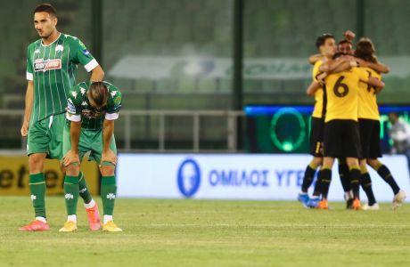 Κοντράστ συναισθημάτων στη Λεωφόρο, με τους παίκτες της ΑΕΚ να πανηγυρίζουν τη νίκη με σκορ 1-0 επί του Παναθηναϊκού και τους Μακέντα - Καρλίτος απογοητευμένους | 09/05/2021