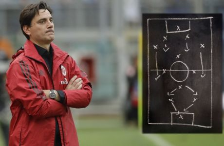 AC Milan coach Vincenzo Montella watches a Serie A soccer match between Lazio and AC Milan, at the Rome Olympic stadium, Sunday, Sept. 10, 2017. (AP Photo/Alessandra Tarantino)