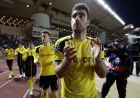 Dortmund players applaud after the Champions League quarterfinal second leg soccer match between Monaco and Dortmund at the Louis II stadium in Monaco, Wednesday April 19, 2017. Monaco beat Borussia Dortmund 3-1 to reach the Champions League semifinals. (AP Photo/Claude Paris)