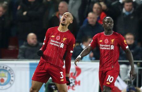 Ο Φαμπίνιο της Λίβερπουλ πανηγυρίζει γκολ που σημείωσε κόντρα στη Μάντσεστερ Σίτι για την Premier League 2019-2020 στο 'Άνφιλντ', Λίβερπουλ, Κυριακή 10 Νοεμβρίου 2019
