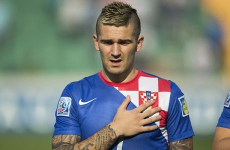 Croatias's Marko Livaja is pictured before the Under-20 World Cup round of 16 soccer match between Croatia and Chile in Bursa, Turkey, Wednesday, July 3, 2013. (AP Photo/Gero Breloer)