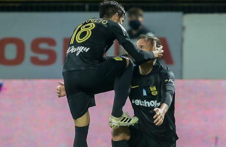 Ο Μπερτόγλιο πανηγυρίζει το γκολ του στο 2-0 του Άρη επί του Βόλου στο 'Κλεάνθης Βικελίδης', για την 15η αγ. της Super League Interwetten | 07/01/2021
