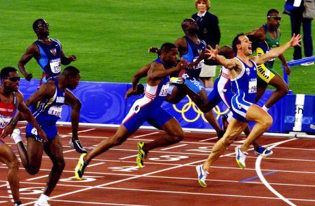Ο Κώστας Κεντέρης τερματίζει 1ος στον τελικό των 200μ. στους Ολυμπιακούς Αγώνες 2000, Σίδνεϊ, Πέμπτη 28 Σεπτεμβρίου 2000