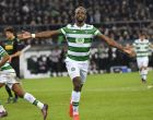 Celtic's Moussa Dembele celebrates his side's equalizing goal by penalty during the Champions League group C soccer match between Borussia Moenchengladbach and Celtic FC in Moenchengladbach, Germany, Tuesday, Nov. 1, 2016. (AP Photo/Martin Meissner)