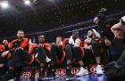 Toronto Raptors' Marc Gasol, Serge Ibaka, Pascal Siakam, Fred VanVleet and Kyle Lowry, from left, talk as their teammates play during the second half of an NBA basketball game against the New York Knicks on Thursday, March 28, 2019, in New York. The Raptors won 117-92. (AP Photo/Frank Franklin II)