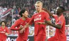Salzburg's Erling Braut Haaland, second right, celebrates his goal before it is canceled by the video referee during the Champions League Group E soccer match between FC Red Bull Salzburg and Napoli in Salzburg, Austria, Wednesday, Oct. 23, 2019. (AP Photo/Kerstin Joensson)