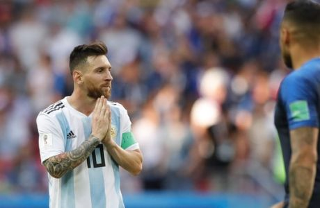 Argentina's Lionel Messi reacts during the round of 16 match between France and Argentina, at the 2018 soccer World Cup at the Kazan Arena in Kazan, Russia, Thursday, June 28, 2018. (AP Photo/Ricardo Mazalan)