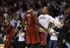 Miami Heat's Chris Bosh (1) is met by Michael Beasley, right, after he shot a three point jumper to put the Heat ahead during the fourth quarter of an NBA basketball game against the Charlotte Bobcats, Sunday, Dec. 1, 2013, in Miami. The Heat defeated the Bobcats 99-98. (AP Photo/Lynne Sladky)