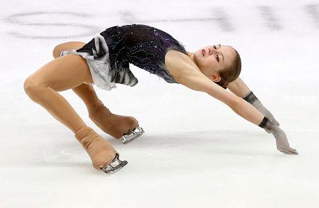Η Αλιεκσάντρα Τρουσόβα σε στιγμιότυπο στο Ευρωπαϊκό Πρωτάθλημα καλλιτεχνικού πατινάζ, Γκρατς, Παρασκευή 24 Ιανουαρίου 2020