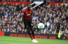 Manchester United's Paul Pogba reacts during the English Premier League soccer match between Manchester United and Wolverhampton Wanderers at Old Trafford stadium in Manchester, England, Saturday, Sept. 22, 2018. (AP Photo/Rui Vieira)