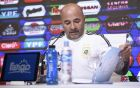Argentina's soccer coach Jorge Sampaoli announces his list of players who will compete in the 2018 World Cup Russia during a press conference in Buenos Aires, Argentina, Monday, May 21, 2018. (AP Photo/Gustavo Garello)