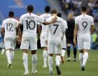 France's Antoine Griezmann, front right, and his teammate France's Kylian Mbappe, front left, walk on the pitch after Griezmann scored his side's 2nd goal during the quarterfinal match between Uruguay and France at the 2018 soccer World Cup in the Nizhny Novgorod Stadium, in Nizhny Novgorod, Russia, Friday, July 6, 2018. (AP Photo/David Vincent)