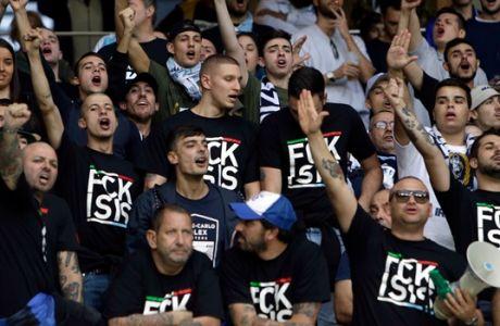 Οπαδοί της Λάτσιο χαιρετούν φασιστικά πριν από την αναμέτρηση με τη Νις για τη φάση των ομίλων του Europa League 2017-2018 στην 'Άλιαντς Ριβιέρα', Νίκαια | Πέμπτη 19 Οκτωβρίου 2017